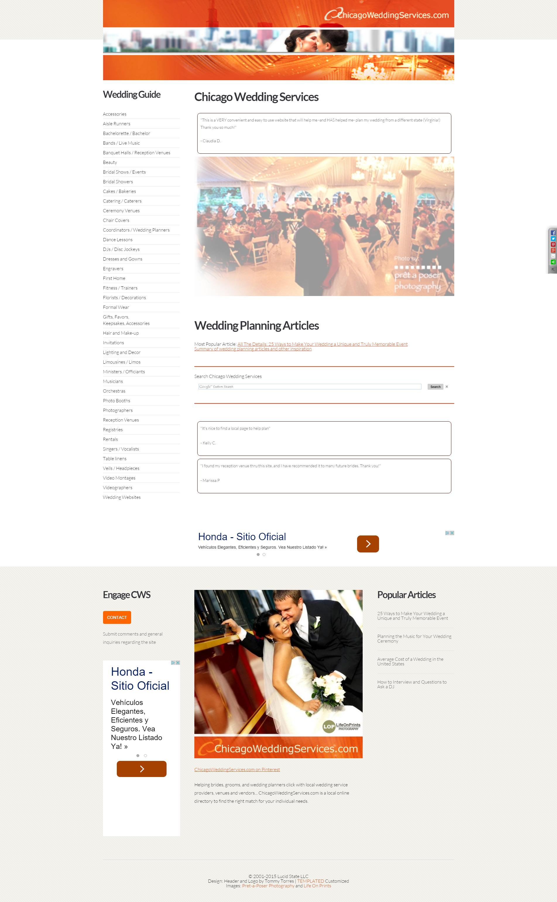 Screenshot of ChicagoWeddingServices.com in 2016