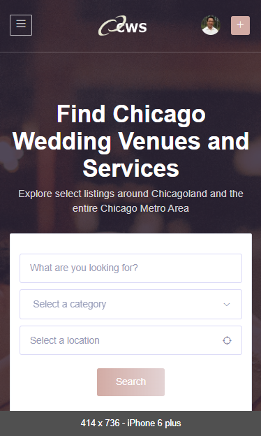 Chicago Wedding Services homepage mobile screenshot